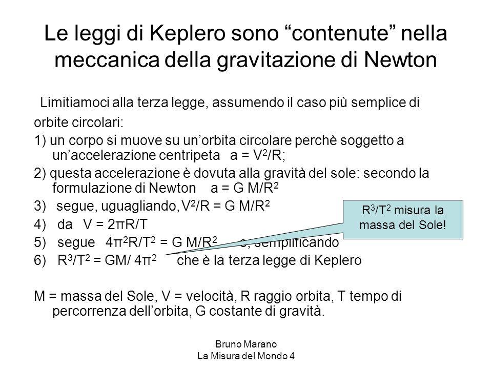 """Bruno Marano La Misura del Mondo 4 Le leggi di Keplero sono """"contenute"""" nella meccanica della gravitazione di Newton Limitiamoci alla terza legge, ass"""