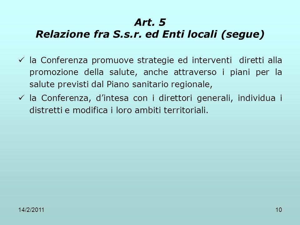 14/2/201110 Art. 5 Relazione fra S.s.r. ed Enti locali (segue) la Conferenza promuove strategie ed interventi diretti alla promozione della salute, an