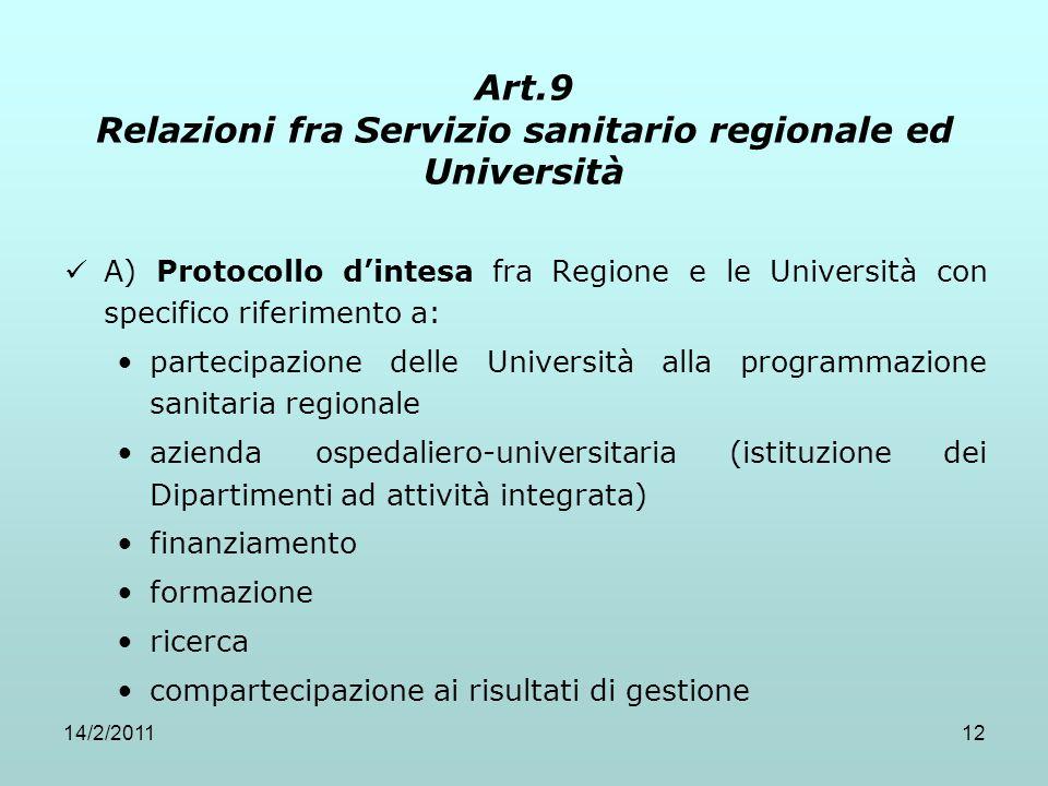 14/2/201112 Art.9 Relazioni fra Servizio sanitario regionale ed Università A) Protocollo d'intesa fra Regione e le Università con specifico riferiment