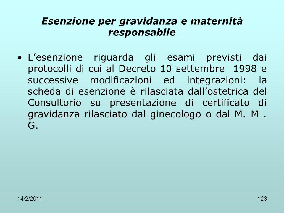 14/2/2011123 Esenzione per gravidanza e maternità responsabile L'esenzione riguarda gli esami previsti dai protocolli di cui al Decreto 10 settembre 1
