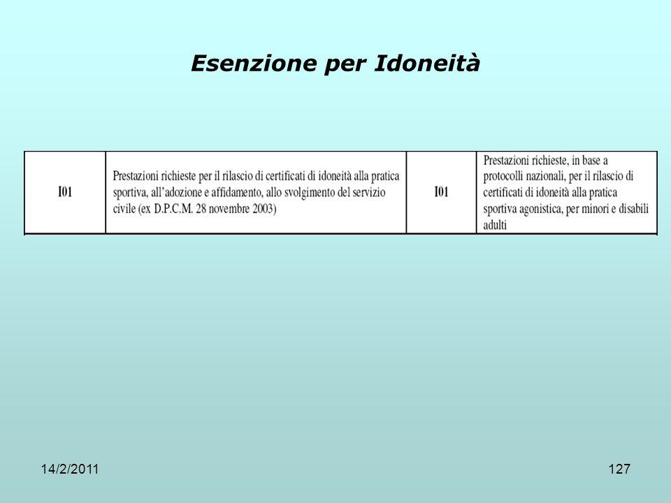 14/2/2011127 Esenzione per Idoneità