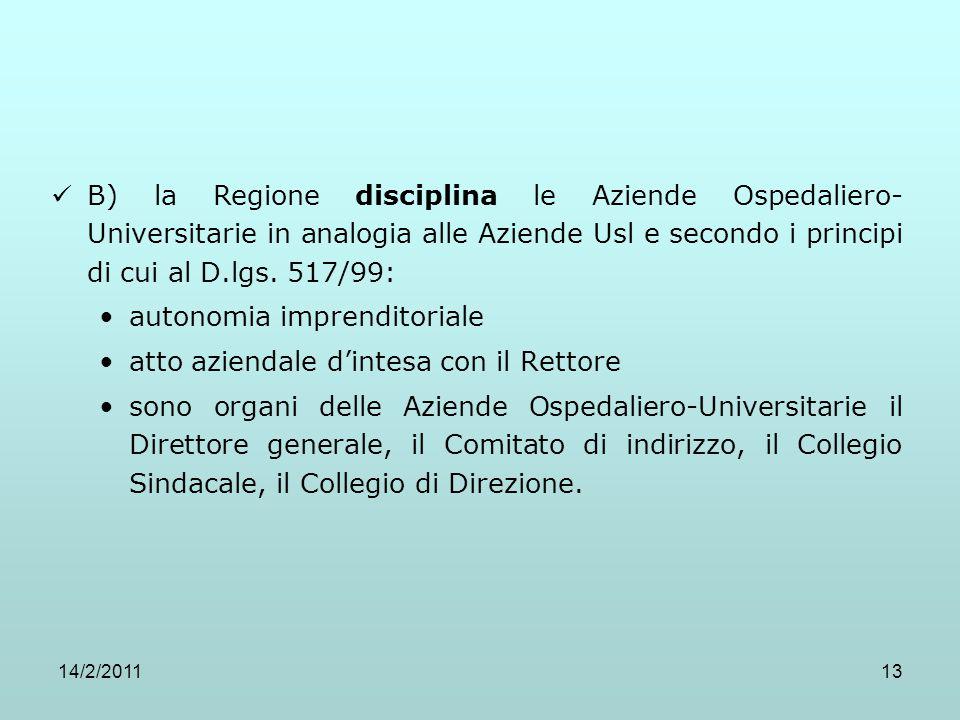 14/2/201113 B) la Regione disciplina le Aziende Ospedaliero- Universitarie in analogia alle Aziende Usl e secondo i principi di cui al D.lgs. 517/99: