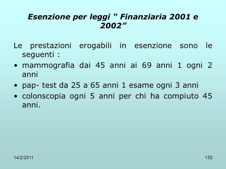 """14/2/2011133 Esenzione per leggi """" Finanziaria 2001 e 2002"""" Le prestazioni erogabili in esenzione sono le seguenti : mammografia dai 45 anni ai 69 ann"""