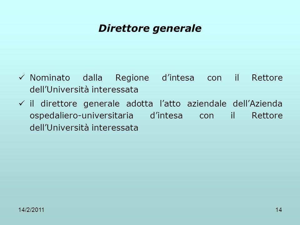 14/2/201114 Direttore generale Nominato dalla Regione d'intesa con il Rettore dell'Università interessata il direttore generale adotta l'atto aziendal