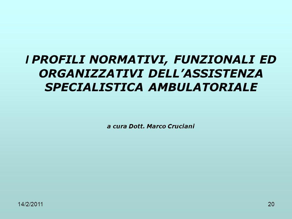 14/2/201120 I PROFILI NORMATIVI, FUNZIONALI ED ORGANIZZATIVI DELL'ASSISTENZA SPECIALISTICA AMBULATORIALE a cura Dott. Marco Cruciani