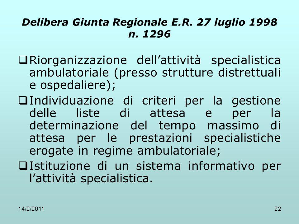 14/2/201122 Delibera Giunta Regionale E.R. 27 luglio 1998 n. 1296  Riorganizzazione dell'attività specialistica ambulatoriale (presso strutture distr
