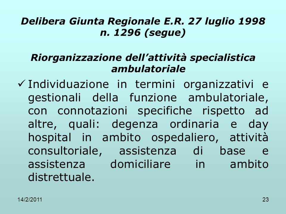 14/2/201123 Delibera Giunta Regionale E.R. 27 luglio 1998 n. 1296 (segue) Riorganizzazione dell'attività specialistica ambulatoriale Individuazione in