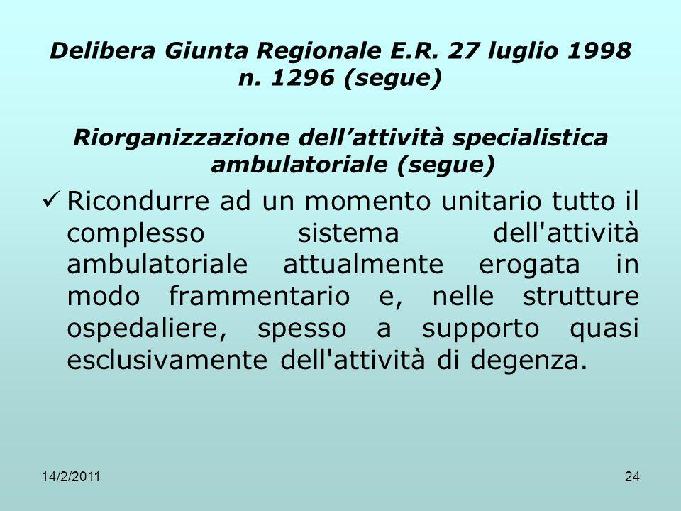 14/2/201124 Delibera Giunta Regionale E.R. 27 luglio 1998 n. 1296 (segue) Riorganizzazione dell'attività specialistica ambulatoriale (segue) Ricondurr