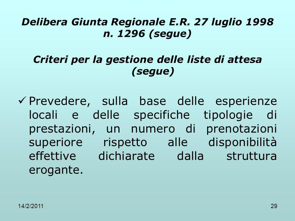14/2/201129 Delibera Giunta Regionale E.R. 27 luglio 1998 n. 1296 (segue) Criteri per la gestione delle liste di attesa (segue) Prevedere, sulla base