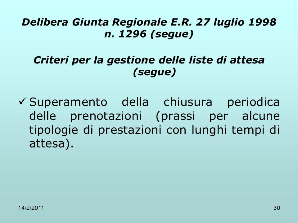14/2/201130 Delibera Giunta Regionale E.R. 27 luglio 1998 n. 1296 (segue) Criteri per la gestione delle liste di attesa (segue) Superamento della chiu