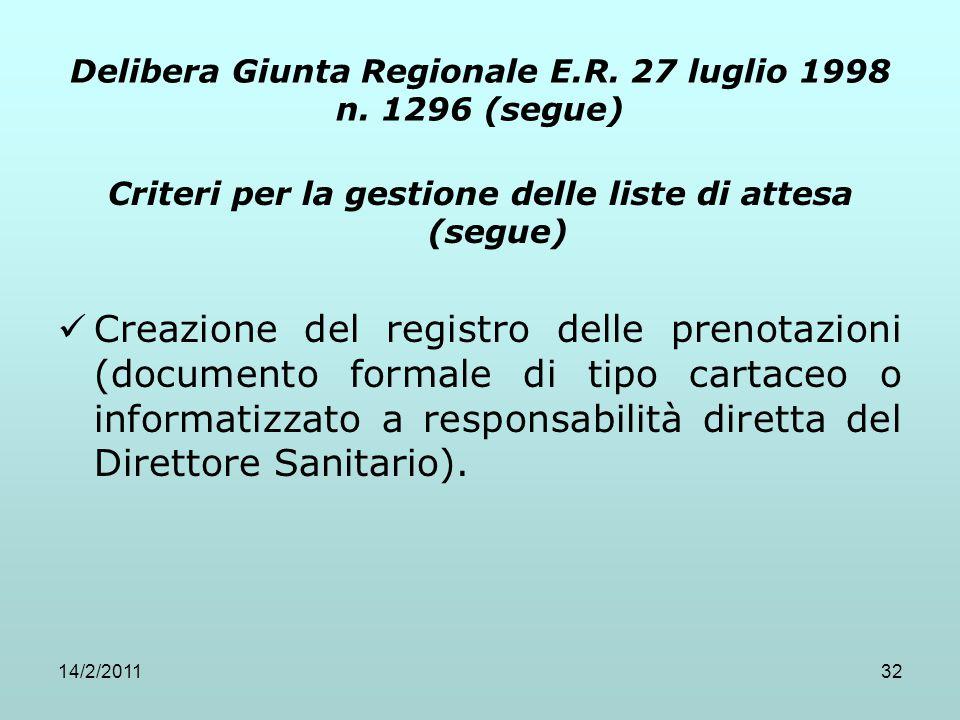 14/2/201132 Delibera Giunta Regionale E.R. 27 luglio 1998 n. 1296 (segue) Criteri per la gestione delle liste di attesa (segue) Creazione del registro