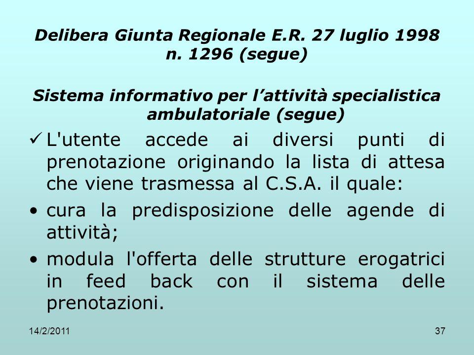 14/2/201137 Delibera Giunta Regionale E.R. 27 luglio 1998 n. 1296 (segue) Sistema informativo per l'attività specialistica ambulatoriale (segue) L'ute