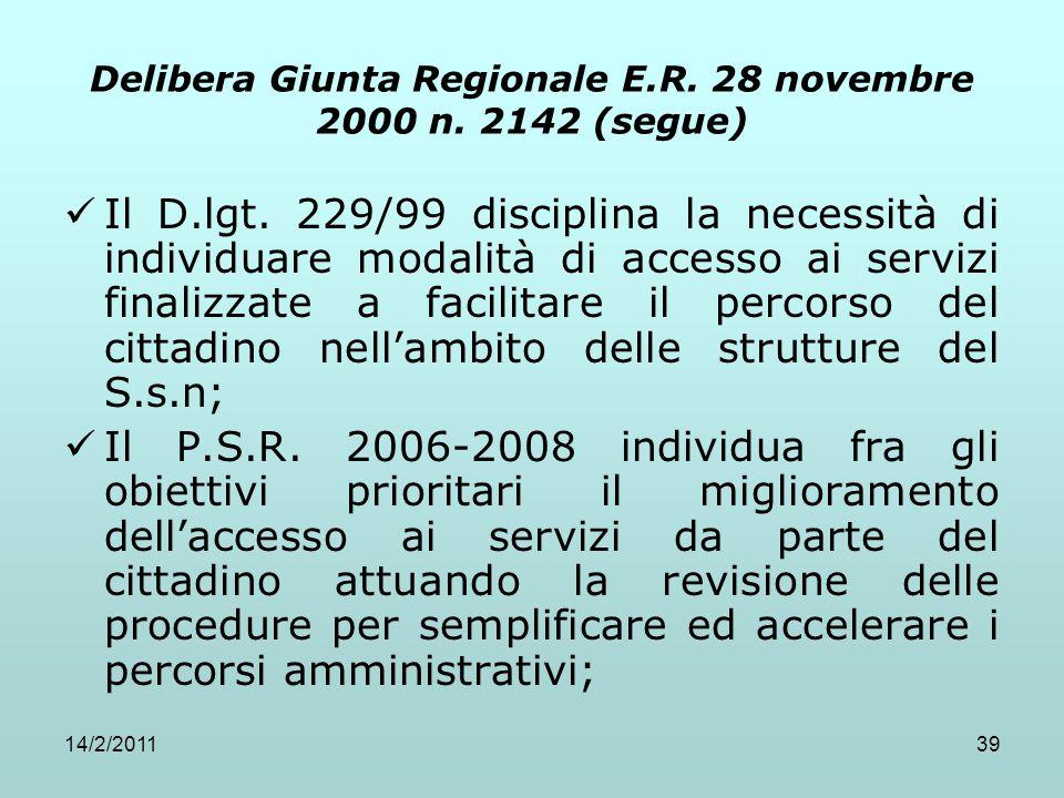 14/2/201139 Delibera Giunta Regionale E.R. 28 novembre 2000 n. 2142 (segue) Il D.lgt. 229/99 disciplina la necessità di individuare modalità di access