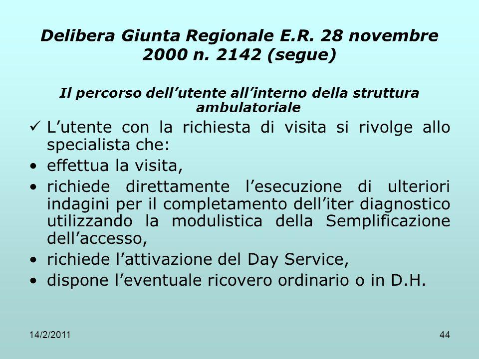 14/2/201144 Delibera Giunta Regionale E.R. 28 novembre 2000 n. 2142 (segue) Il percorso dell'utente all'interno della struttura ambulatoriale L'utente