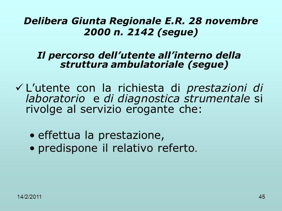 14/2/201145 Delibera Giunta Regionale E.R. 28 novembre 2000 n. 2142 (segue) Il percorso dell'utente all'interno della struttura ambulatoriale (segue)