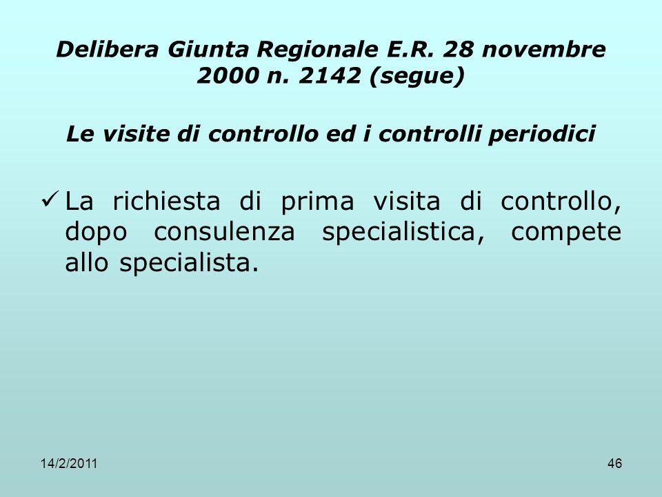 14/2/201146 Delibera Giunta Regionale E.R. 28 novembre 2000 n. 2142 (segue) Le visite di controllo ed i controlli periodici La richiesta di prima visi