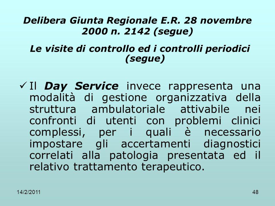 14/2/201148 Delibera Giunta Regionale E.R. 28 novembre 2000 n. 2142 (segue) Le visite di controllo ed i controlli periodici (segue) Il Day Service inv