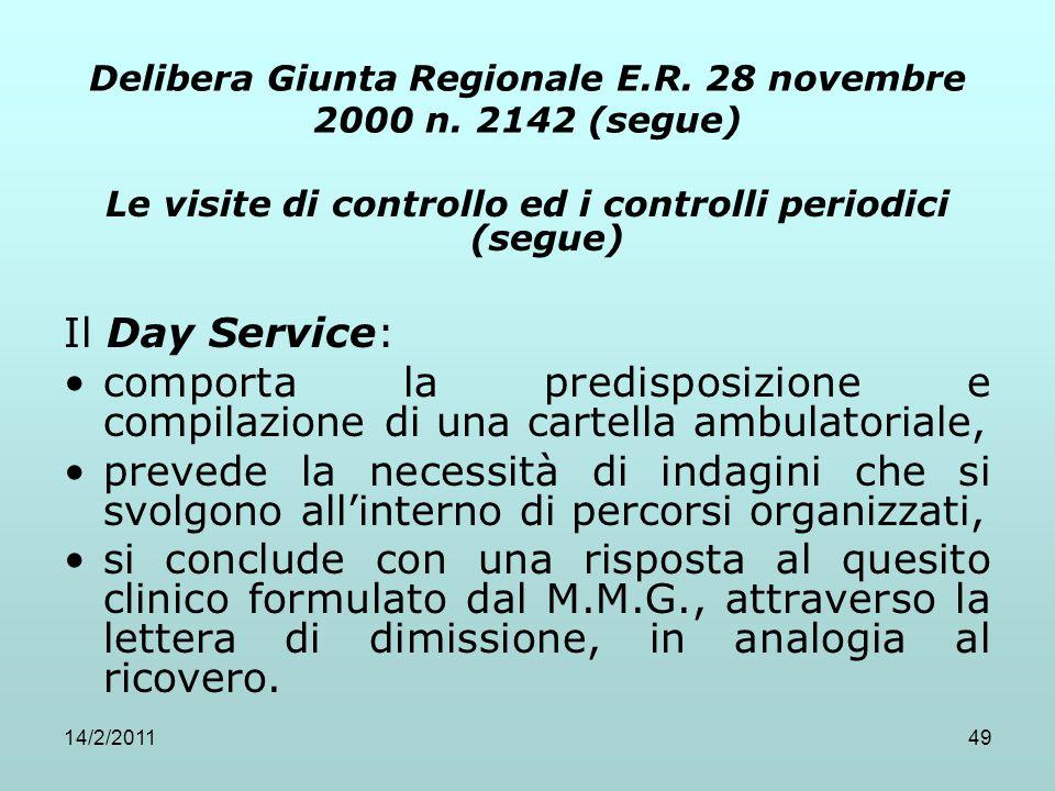14/2/201149 Delibera Giunta Regionale E.R. 28 novembre 2000 n. 2142 (segue) Le visite di controllo ed i controlli periodici (segue) Il Day Service: co