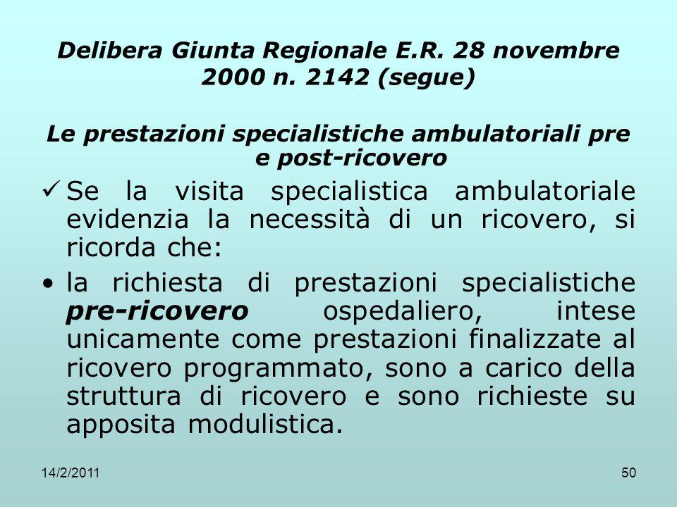 14/2/201150 Delibera Giunta Regionale E.R. 28 novembre 2000 n. 2142 (segue) Le prestazioni specialistiche ambulatoriali pre e post-ricovero Se la visi