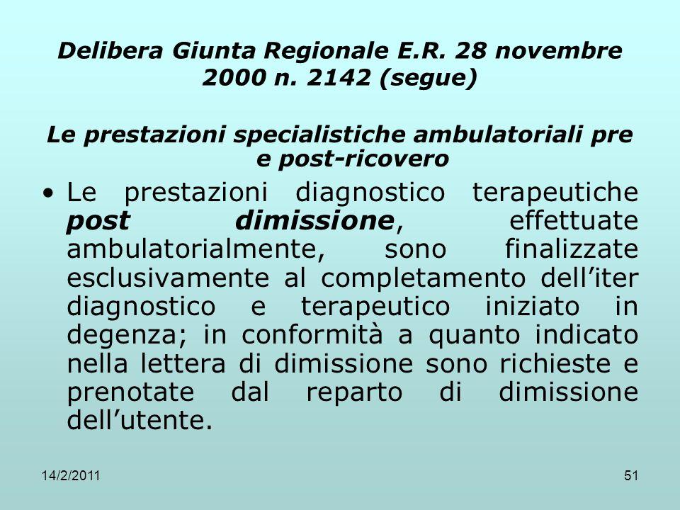 14/2/201151 Delibera Giunta Regionale E.R. 28 novembre 2000 n. 2142 (segue) Le prestazioni specialistiche ambulatoriali pre e post-ricovero Le prestaz