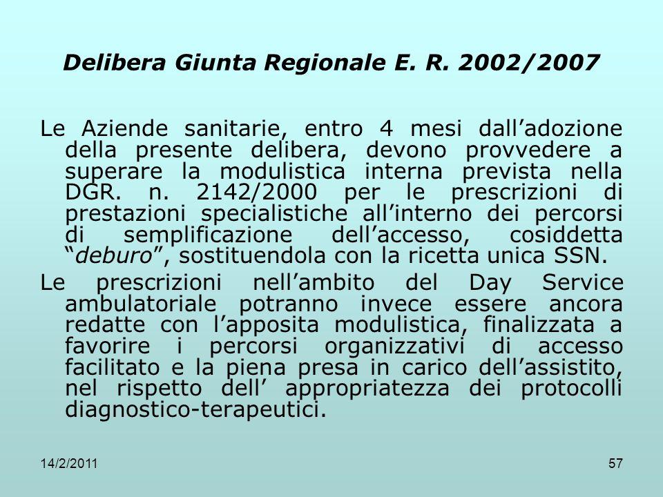 14/2/201157 Delibera Giunta Regionale E. R. 2002/2007 Le Aziende sanitarie, entro 4 mesi dall'adozione della presente delibera, devono provvedere a su