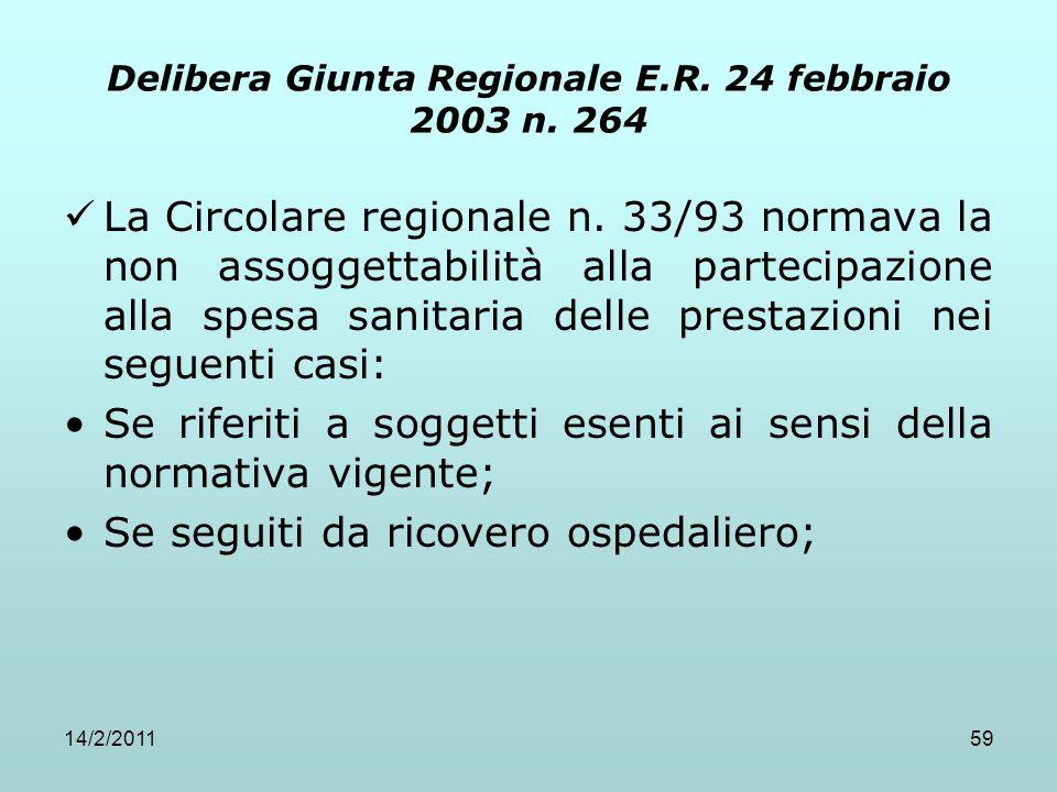 14/2/201159 Delibera Giunta Regionale E.R. 24 febbraio 2003 n. 264 La Circolare regionale n. 33/93 normava la non assoggettabilità alla partecipazione