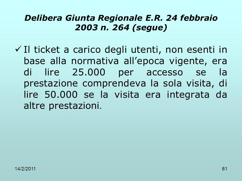 14/2/201161 Delibera Giunta Regionale E.R. 24 febbraio 2003 n. 264 (segue) Il ticket a carico degli utenti, non esenti in base alla normativa all'epoc