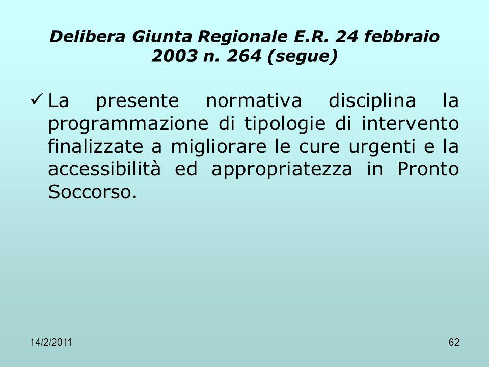 14/2/201162 Delibera Giunta Regionale E.R. 24 febbraio 2003 n. 264 (segue) La presente normativa disciplina la programmazione di tipologie di interven