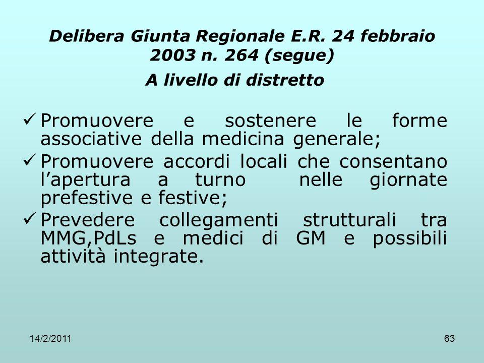 14/2/201163 Delibera Giunta Regionale E.R. 24 febbraio 2003 n. 264 (segue) A livello di distretto Promuovere e sostenere le forme associative della me