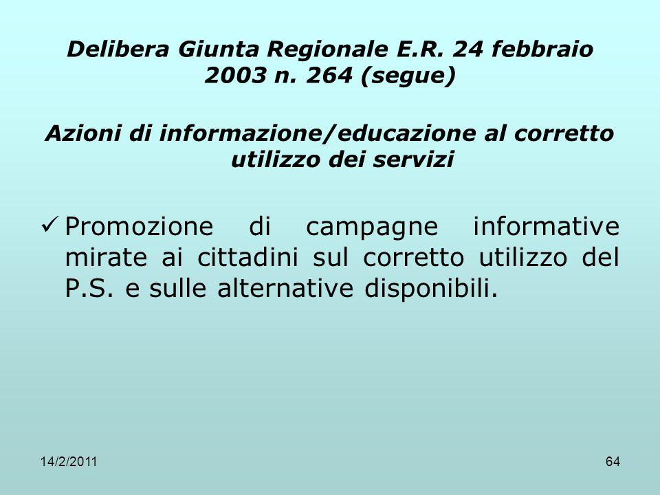 14/2/201164 Azioni di informazione/educazione al corretto utilizzo dei servizi Promozione di campagne informative mirate ai cittadini sul corretto uti