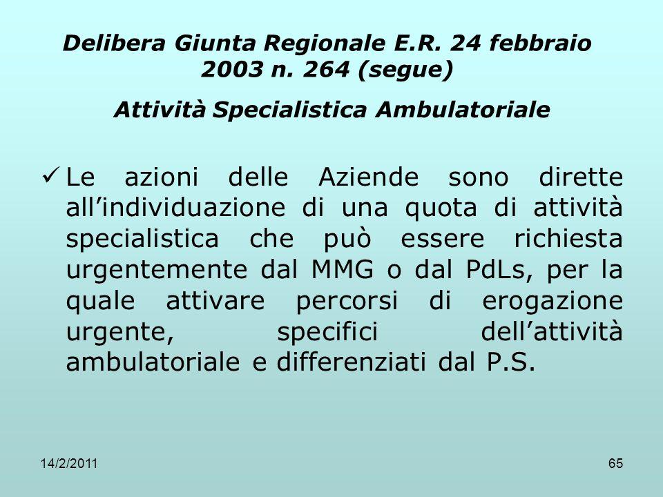 14/2/201165 Delibera Giunta Regionale E.R. 24 febbraio 2003 n. 264 (segue) Attività Specialistica Ambulatoriale Le azioni delle Aziende sono dirette a