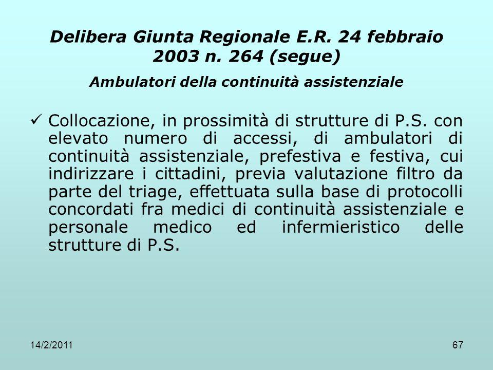 14/2/201167 Delibera Giunta Regionale E.R. 24 febbraio 2003 n. 264 (segue) Ambulatori della continuità assistenziale Collocazione, in prossimità di st