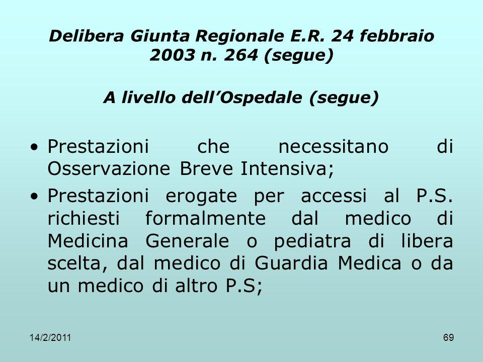 14/2/201169 Delibera Giunta Regionale E.R. 24 febbraio 2003 n. 264 (segue) A livello dell'Ospedale (segue) Prestazioni che necessitano di Osservazione