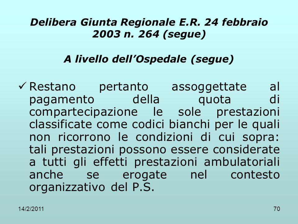 14/2/201170 Delibera Giunta Regionale E.R. 24 febbraio 2003 n. 264 (segue) A livello dell'Ospedale (segue) Restano pertanto assoggettate al pagamento