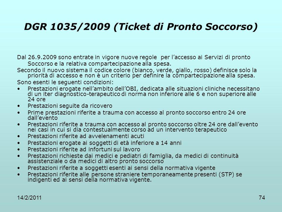 14/2/201174 DGR 1035/2009 (Ticket di Pronto Soccorso) Dal 26.9.2009 sono entrate in vigore nuove regole per l'accesso ai Servizi di pronto Soccorso e