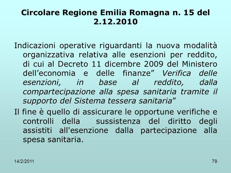 14/2/201179 Circolare Regione Emilia Romagna n. 15 del 2.12.2010 Indicazioni operative riguardanti la nuova modalità organizzativa relativa alle esenz