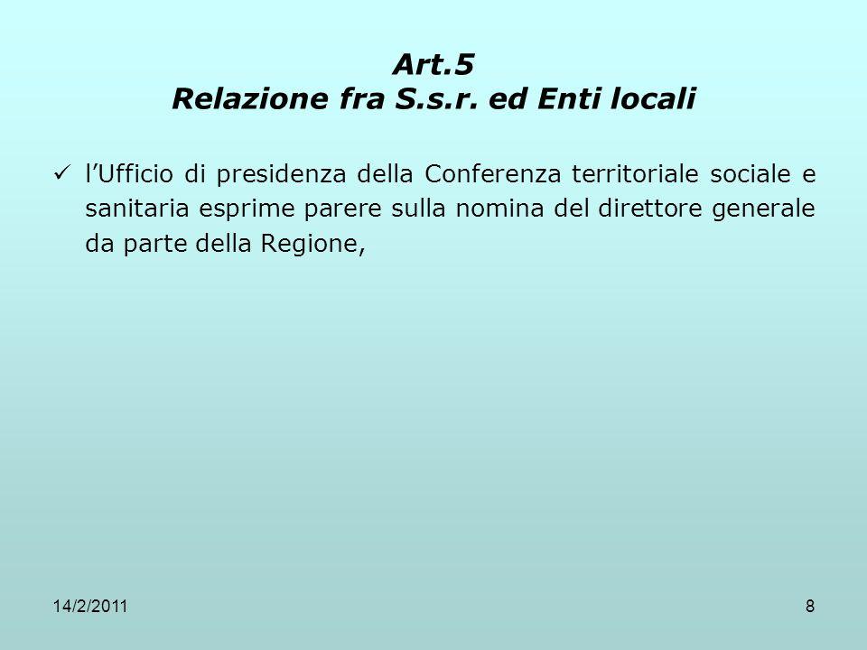 14/2/20118 Art.5 Relazione fra S.s.r. ed Enti locali l'Ufficio di presidenza della Conferenza territoriale sociale e sanitaria esprime parere sulla no