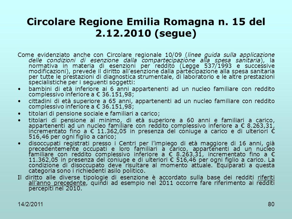 14/2/201180 Circolare Regione Emilia Romagna n. 15 del 2.12.2010 (segue) Come evidenziato anche con Circolare regionale 10/09 (linee guida sulla appli
