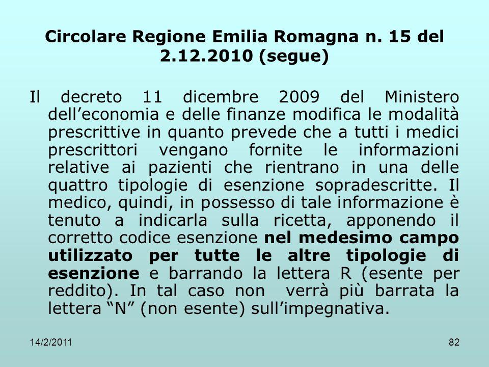 14/2/201182 Circolare Regione Emilia Romagna n. 15 del 2.12.2010 (segue) Il decreto 11 dicembre 2009 del Ministero dell'economia e delle finanze modif