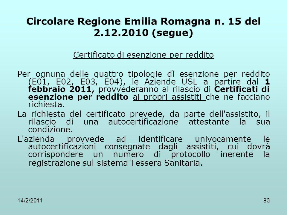 14/2/201183 Circolare Regione Emilia Romagna n. 15 del 2.12.2010 (segue) Certificato di esenzione per reddito Per ognuna delle quattro tipologie dì es