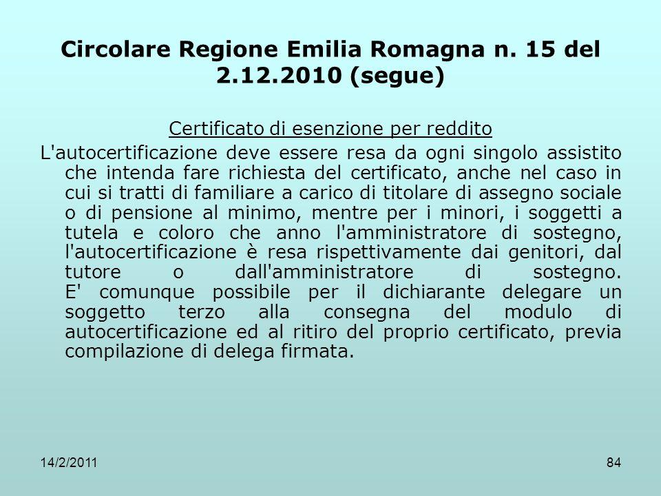 14/2/201184 Circolare Regione Emilia Romagna n. 15 del 2.12.2010 (segue) Certificato di esenzione per reddito L'autocertificazione deve essere resa da