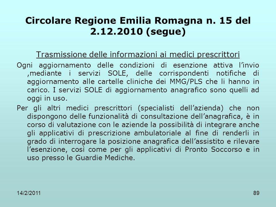 14/2/201189 Circolare Regione Emilia Romagna n. 15 del 2.12.2010 (segue) Trasmissione delle informazioni ai medici prescrittori Ogni aggiornamento del