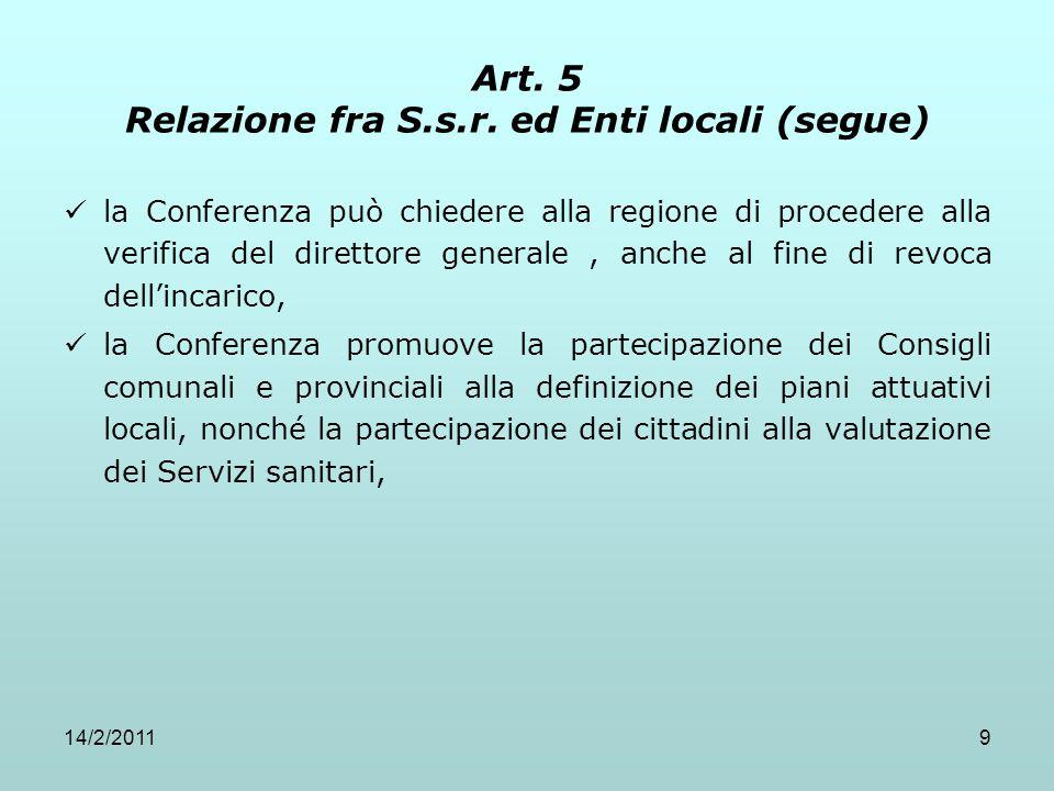 14/2/20119 Art. 5 Relazione fra S.s.r. ed Enti locali (segue) la Conferenza può chiedere alla regione di procedere alla verifica del direttore general