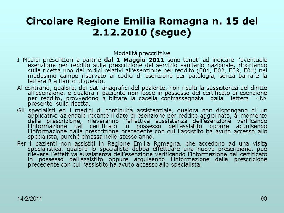 14/2/201190 Circolare Regione Emilia Romagna n. 15 del 2.12.2010 (segue) Modalità prescrittive I Medici prescrittori a partire dal 1 Maggio 2011 sono