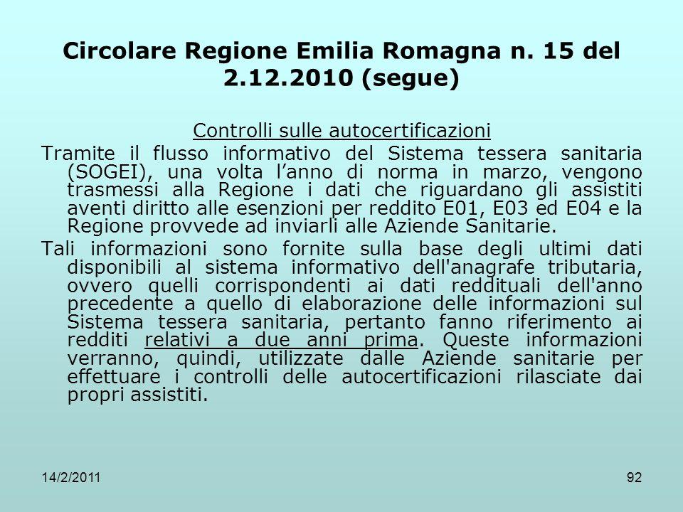 14/2/201192 Circolare Regione Emilia Romagna n. 15 del 2.12.2010 (segue) Controlli sulle autocertificazioni Tramite il flusso informativo del Sistema