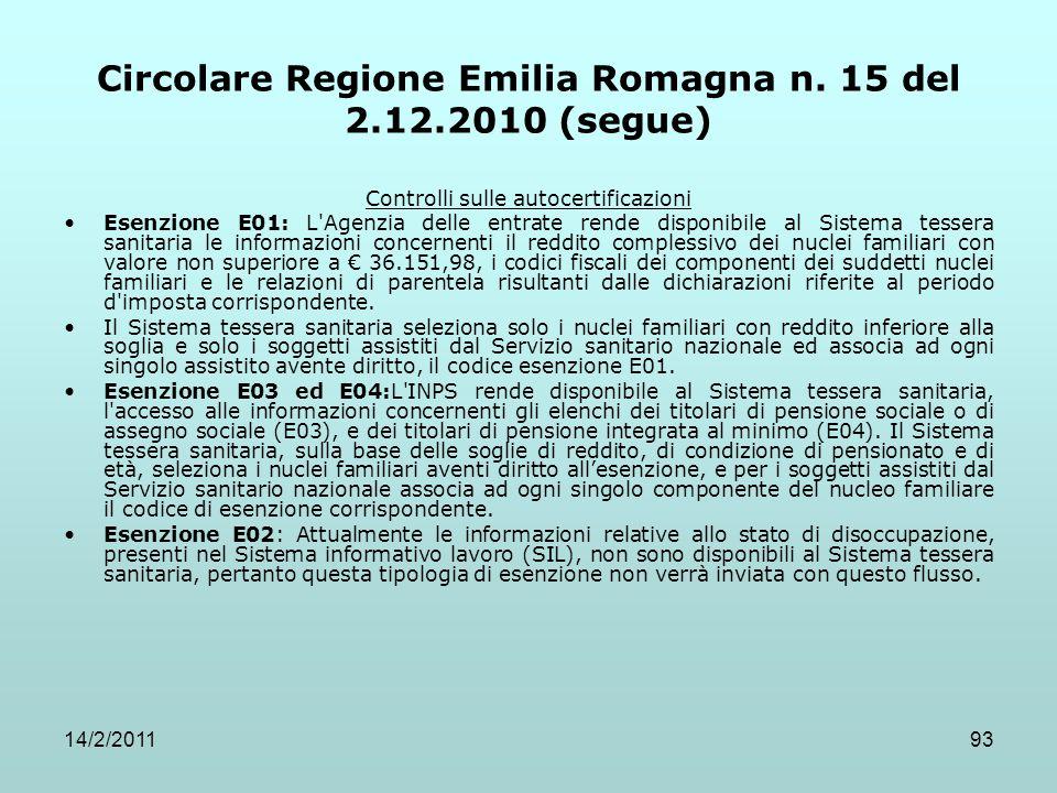 14/2/201193 Circolare Regione Emilia Romagna n. 15 del 2.12.2010 (segue) Controlli sulle autocertificazioni Esenzione E01: L'Agenzia delle entrate ren
