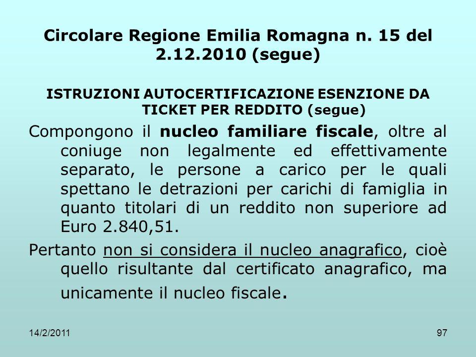 14/2/201197 Circolare Regione Emilia Romagna n. 15 del 2.12.2010 (segue) ISTRUZIONI AUTOCERTIFICAZIONE ESENZIONE DA TICKET PER REDDITO (segue) Compong