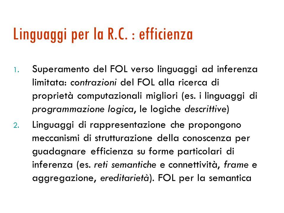 Logica come linguaggio per la R.C.  I linguaggi logici, calcolo proposizionale (Prop) e logica dei predicati (FOL), sono adatti per la rappresentazio