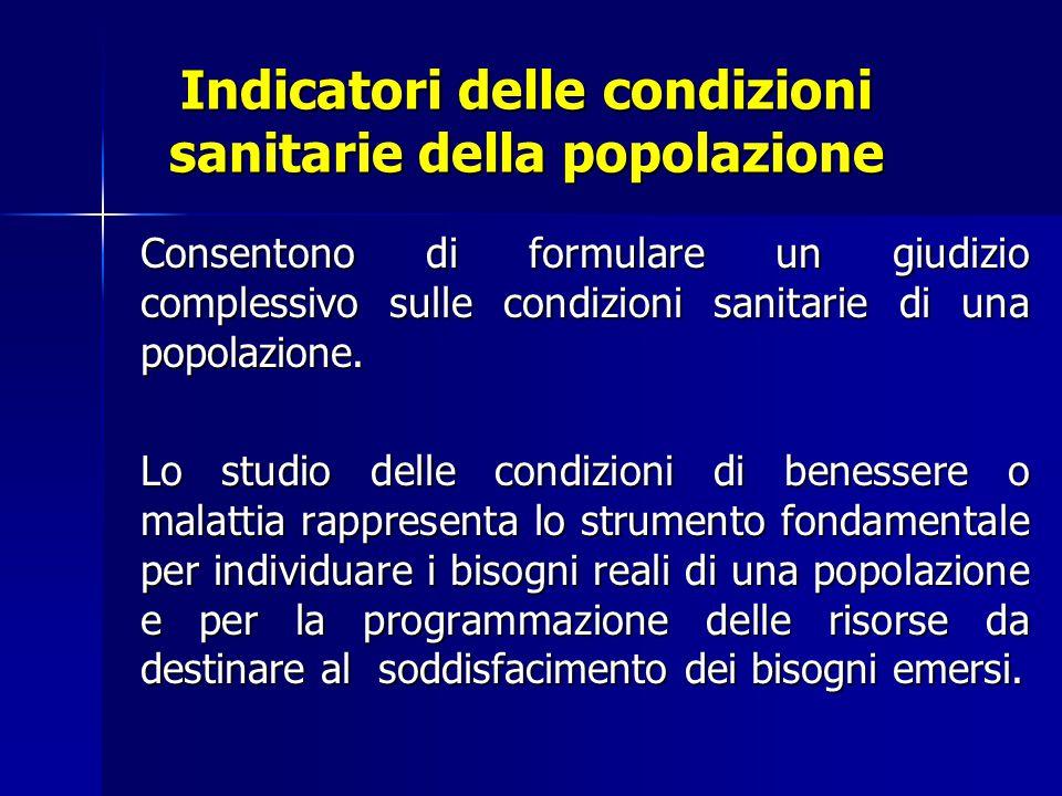 Indicatori demografici e sanitari di maggiore uso inerenti la popolazione italiana (I) Tipo di indicatore Modalità di definizione Anno di riferim.