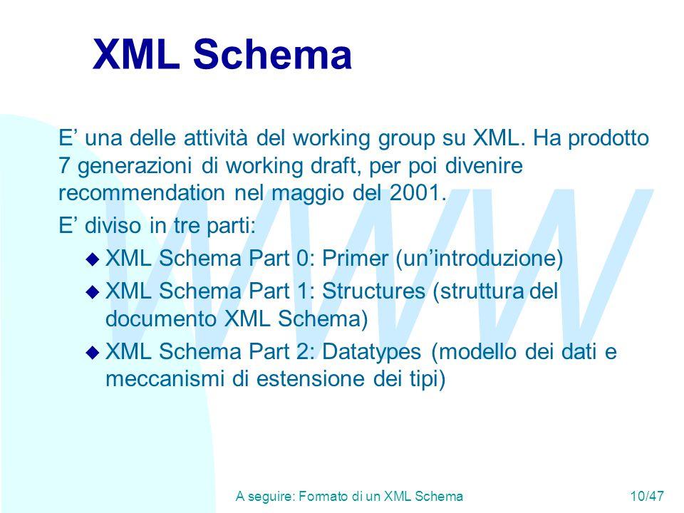 WWW A seguire: Formato di un XML Schema10/47 XML Schema E' una delle attività del working group su XML.